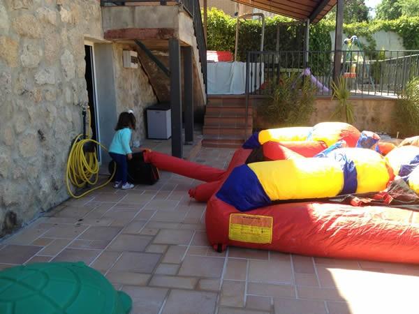 Inflando Castillo Hinchable